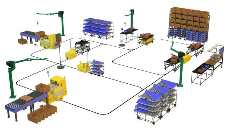 AGV automated guided vehicles along production line