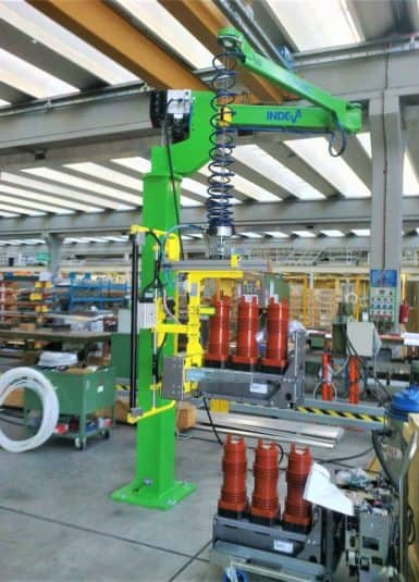 Custom gripping industrial manipulator for handling electromechanical devices
