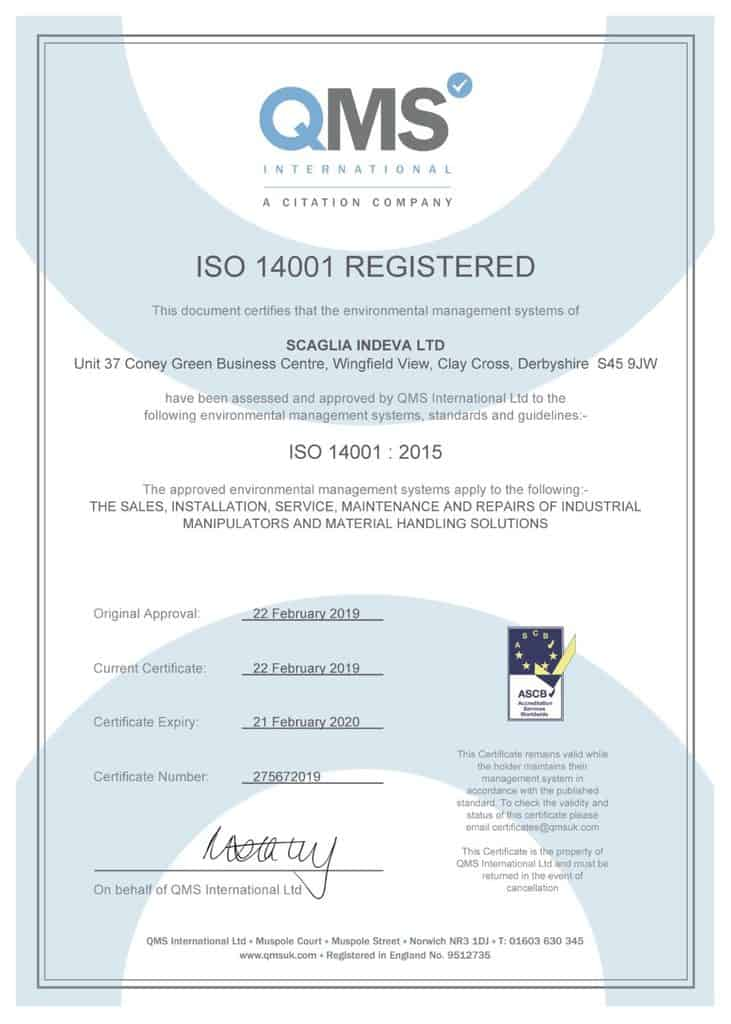 Scaglia Indeva Was Awarded With Iso 9001 14001 And Ohsas18001