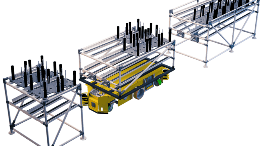 Shooter trolleys made with INDEVA Lean System allow handling heavy loads and move them from one trolley to another one or from one fixed structure to a cart, through an efficient gravity fed sliding system.