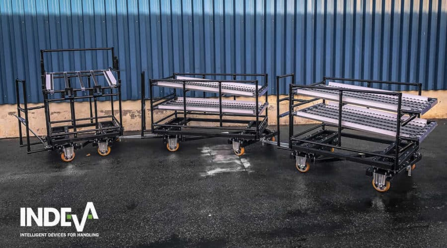 INDEVA Lean System® modular tugger carts can be used in a train set or individually for being towed by an AGV.
