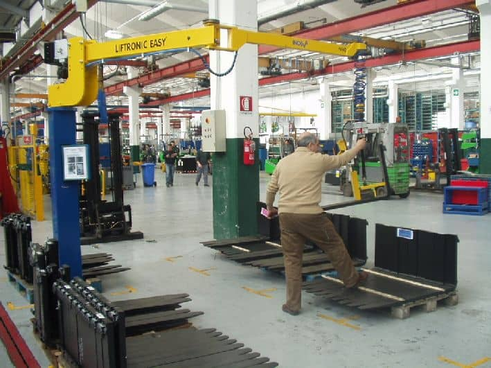 Handling truck forks at Toyota plant in italy