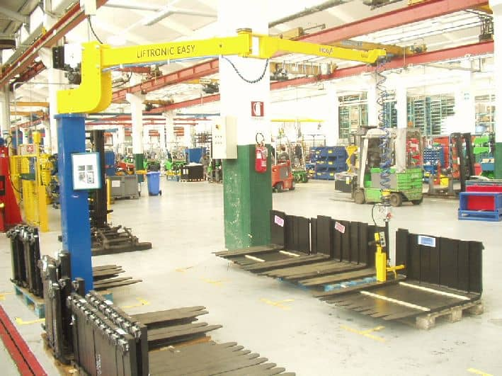 Manipulator for handling truck forks at the Toyota production line in Italy