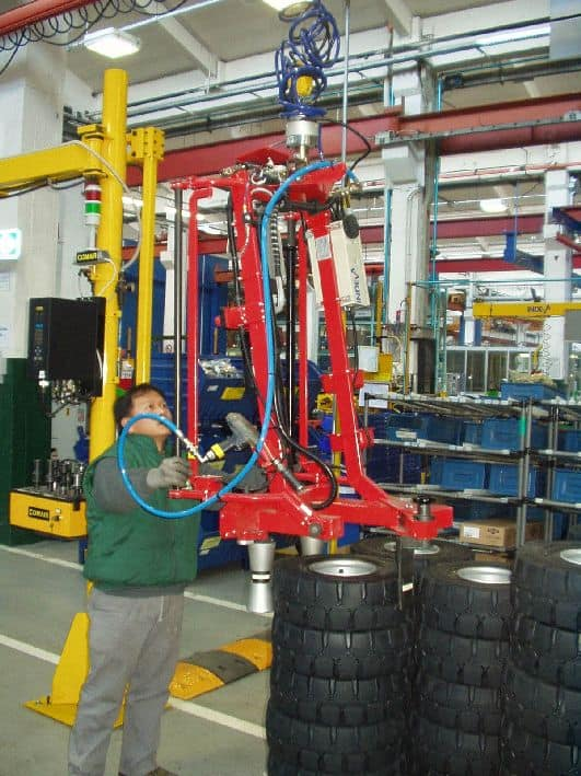 INDEVA manipulator for handling tires at TOYOTA truck plant